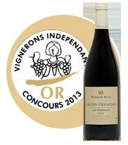 Concours des Vignerons Indépendants 2013 - Médaille d'or Les Pierrelles 2010